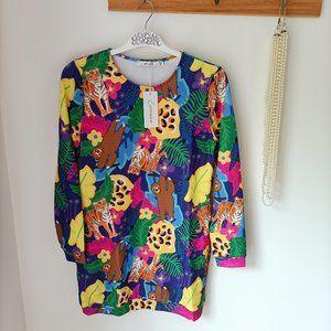 BNWT Lorraine Jungle Melissa Jangal Print Jumper Sweater Pullover XS/S New Funky